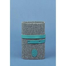 Фетровий жіночий блокнот (Софт-бук) 1.0 з шкіряними бірюзовими вставками, фото 3