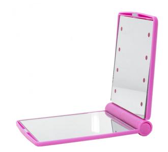 ОПТ Зеркало складное Travel Mirror Pink с LED подсветкой для макияжа на 8 светодиодов
