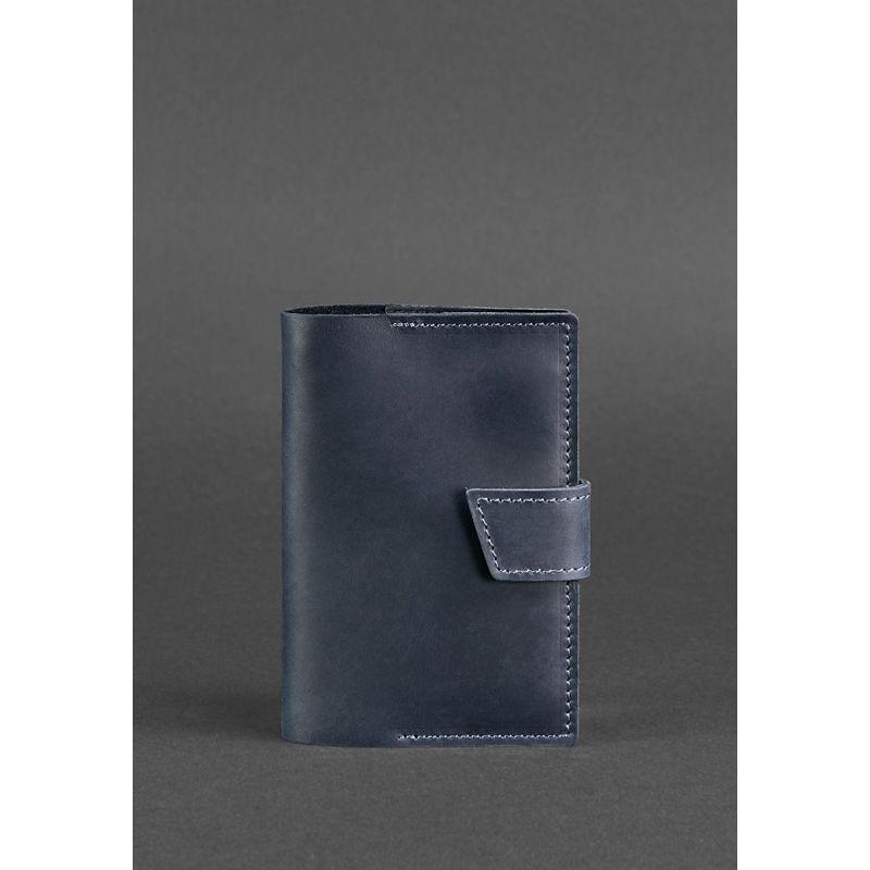 Шкіряна обкладинка для паспорта 4.0 синя