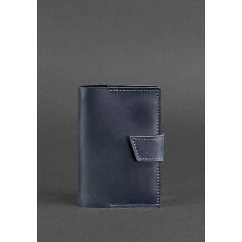 Шкіряна обкладинка для паспорта 4.0 синя, фото 2