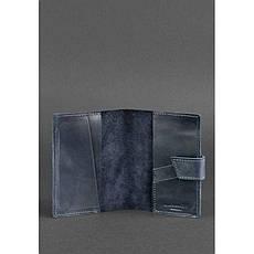 Шкіряна обкладинка для паспорта 4.0 синя, фото 3