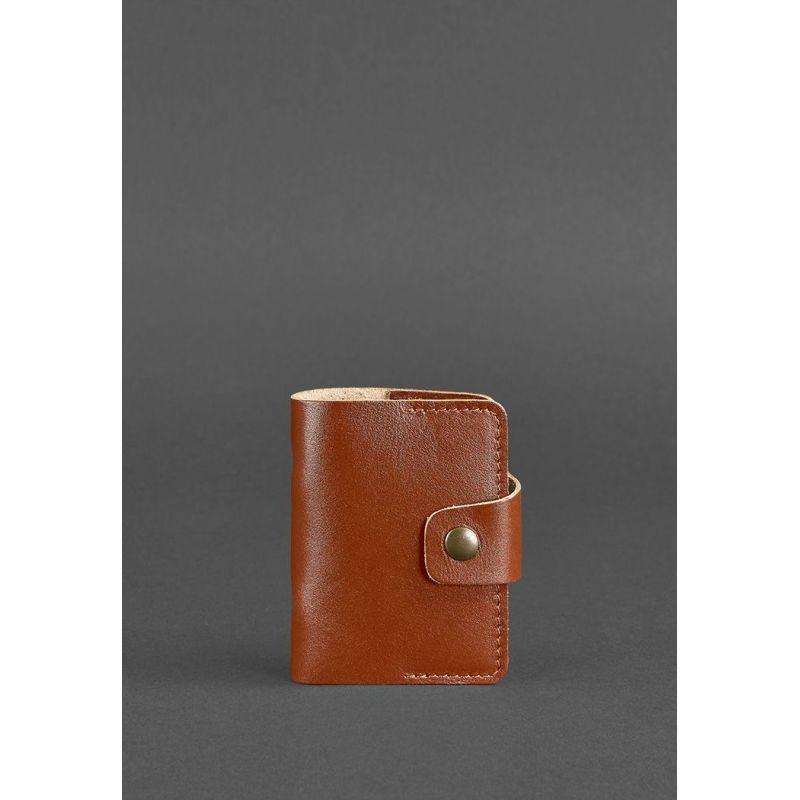 Кожаный кард-кейс 7.1 (Книжечка) светло-коричневый