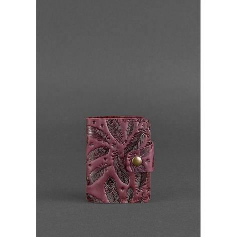 Жіночий шкіряний кард-кейс 7.1 (Книжечка) бордовий з пір'ям, фото 2