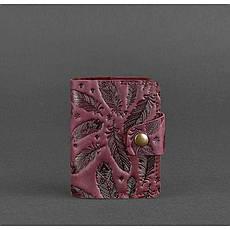 Жіночий шкіряний кард-кейс 7.1 (Книжечка) бордовий з пір'ям, фото 3