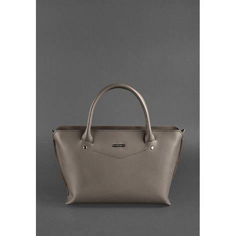 Жіноча шкіряна сумка Midi темно-бежева, фото 2