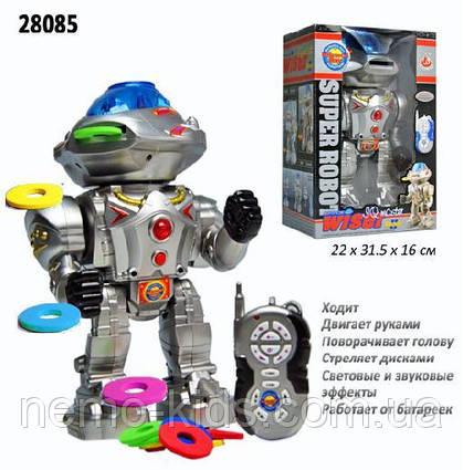 """Робот на радиоуправлении стреляет дисками,""""Super Robot""""  говорит, ходит, вращает головой"""