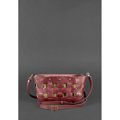Кожаная женская сумка Пазл S бордовая Krast, фото 2
