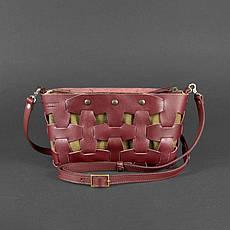 Кожаная женская сумка Пазл S бордовая Krast, фото 3