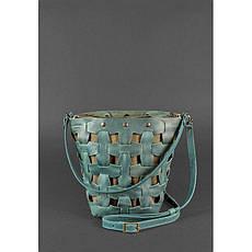 Кожаная плетеная женская сумка Пазл M зеленая Crazy Horse, фото 2