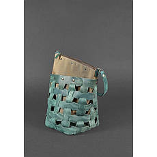 Кожаная плетеная женская сумка Пазл M зеленая Crazy Horse, фото 3
