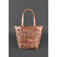 Кожаная плетеная женская сумка Пазл L светло-коричневая Crazy Horse, фото 2