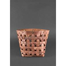 Кожаная плетеная женская сумка Пазл L светло-коричневая Crazy Horse, фото 3