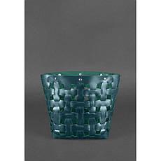 Шкіряні плетені жіноча сумка Пазл L зелена Krast, фото 3