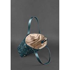Кожаная плетеная женская сумка Пазл L зеленая Krast, фото 3