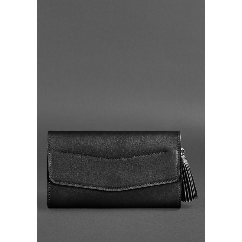 Жіноча шкіряна сумка Еліс вугільно-чорна