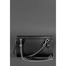 Жіноча шкіряна сумка Еліс вугільно-чорна, фото 3