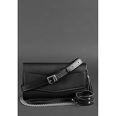 Жіноча шкіряна сумка Еліс вугільно-чорна, фото 2