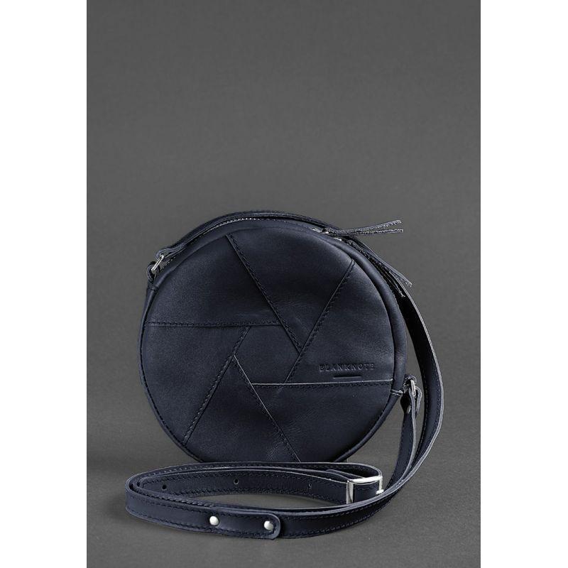 Кругла шкіряна жіноча сумка Бон-Бон темно-синя
