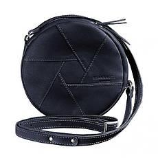 Кругла шкіряна жіноча сумка Бон-Бон темно-синя, фото 3