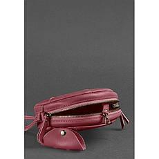 Кожаная круглая женская сумка Бон-Бон бордовая, фото 2