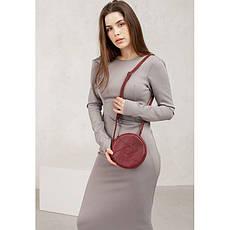 Кожаная круглая женская сумка Бон-Бон бордовая, фото 3