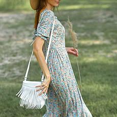 Шкіряна жіноча сумка з бахромою міні-кроссбоди Fleco біла, фото 3