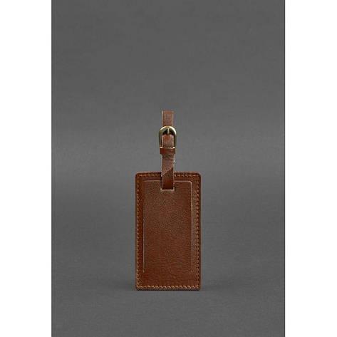 Шкіряна бирка для багажу 3.0 Світло-коричнева, фото 2