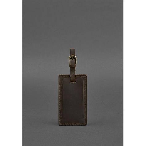 Кожаная бирка для багажа 3.0 Темно-коричневая Crazy Horse, фото 2