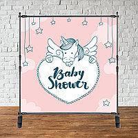"""Баннер 2х2м """"Baby Shower (Беби шауэр/Гендер пати)"""" - Фотозона (виниловый) (Без каркаса) - Розовый единорог"""