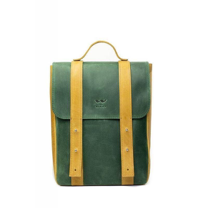 """Шкіряний рюкзак 13"""" зелено-жовтий вінтажний"""