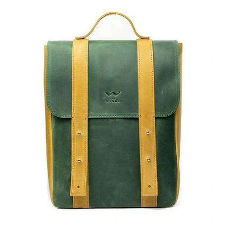 """Шкіряний рюкзак 13"""" зелено-жовтий вінтажний, фото 2"""