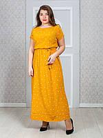 """Плаття жіноче довге Кимано в горох розмір 46-52 (2цв) """"VANILLA"""" недорого від прямого постачальника"""