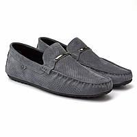 Летние мокасины замшевые серые с перфорацией мужская обувь большого размера Rosso Avangard Classic Dust BS
