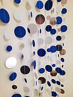 Гирлянда бумажная 2м из синих и зеркальных кружков для декора
