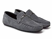 Літні мокасини замшеві сірі з перфорацією чоловіче взуття Rosso Avangard Classic Platinum, фото 1