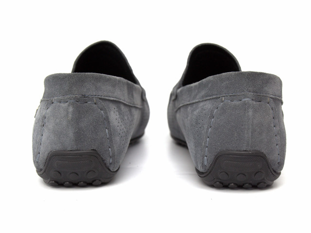 Літні мокасини замшеві сірі з перфорацією чоловіче взуття Rosso Avangard Classic Platinum