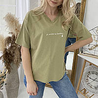 Женская футболка для беременных и кормящих WOW MOM Оливковая S-L (1_3019)