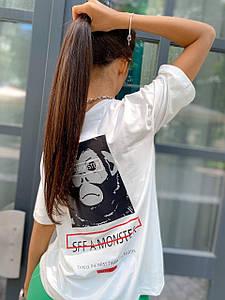 Стильная футболка с двусторонним принтом из вискозы 42-46 р