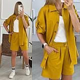 Льняний жіночий костюм з шортами на блискавці і сорочкою двома кишенями. (42-52)., фото 7