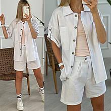 Льняний жіночий костюм з шортами на блискавці і сорочкою двома кишенями. (42-52).