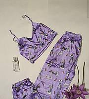 Жіночий піжамний комплект микротоп і штани, фото 1