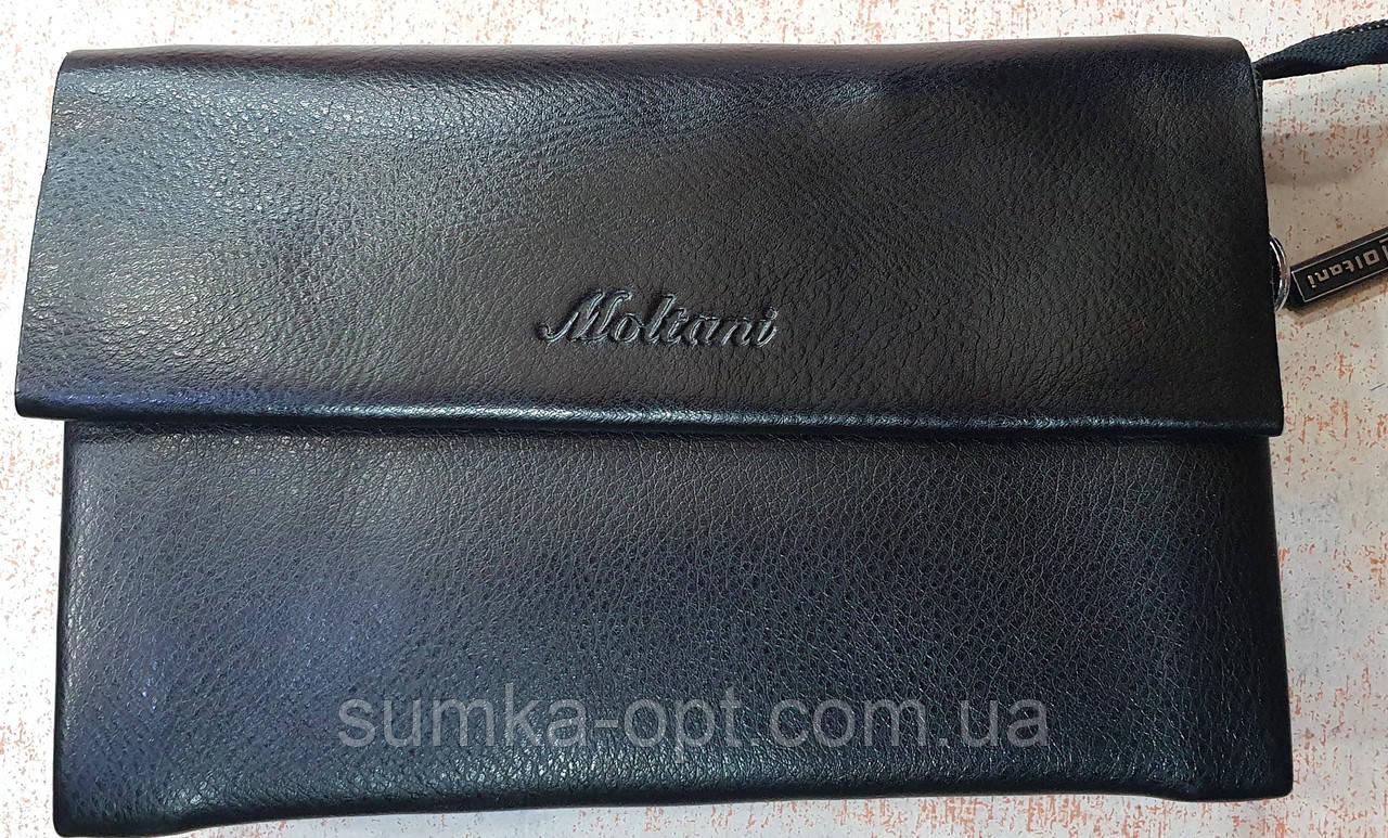 Чоловічий чорний гаманець-клатч, з ремінцем на руку 22*14 см