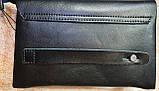 Чоловічий чорний гаманець-клатч, з ремінцем на руку 22*14 см, фото 3