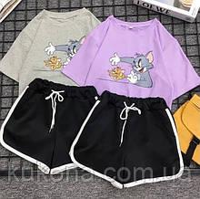 Женский костюм летний футболка и шорты Цвета: лиловый, черный, серый Размеры: 42-44, 46-48