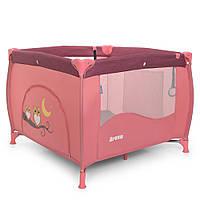 Манеж ME 1030 ARENA Rose Len квадратний дитячий, вхід-блискавка, кишеня, кільце 2шт., льон, рожевий.