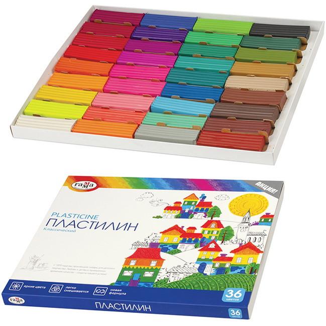 Пластилін 36 кольорів Класичний Гама (Р)