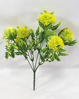 """Жовтий """"багно"""" 30см штучний зелений з круглими квітами, фото 1"""