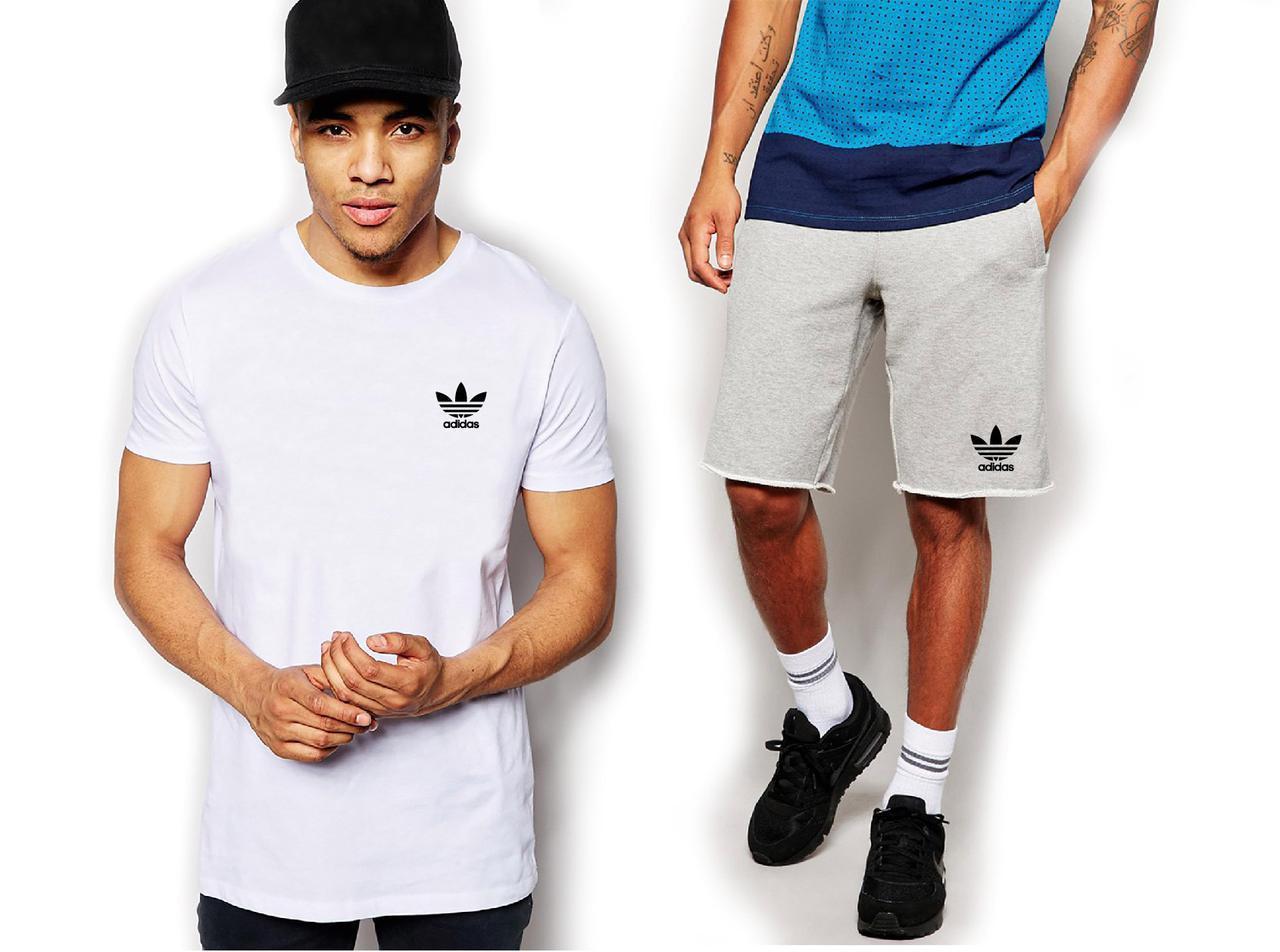Чоловічий комплект футболка + шорти Adidas білого і сірого кольору