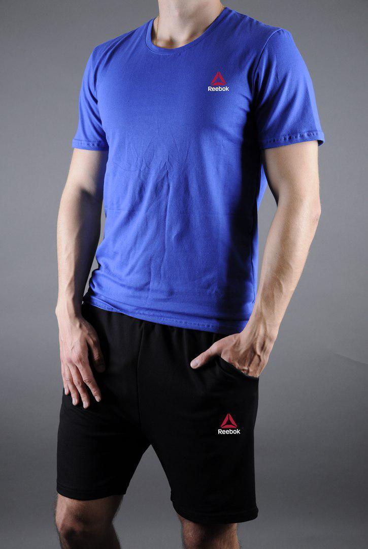 Чоловічий комплект футболка + шорти REEBOK синього і чорного кольору