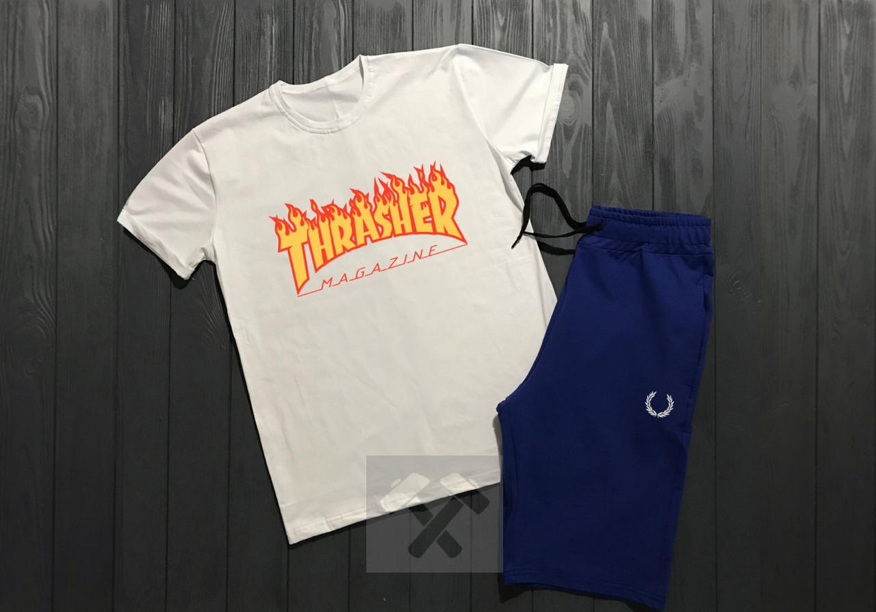Чоловічий комплект футболка + шорти Thrasher білого і синього кольору